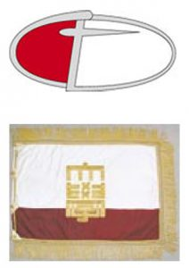 図4 千葉大学   バッジ(上)・校旗(下)